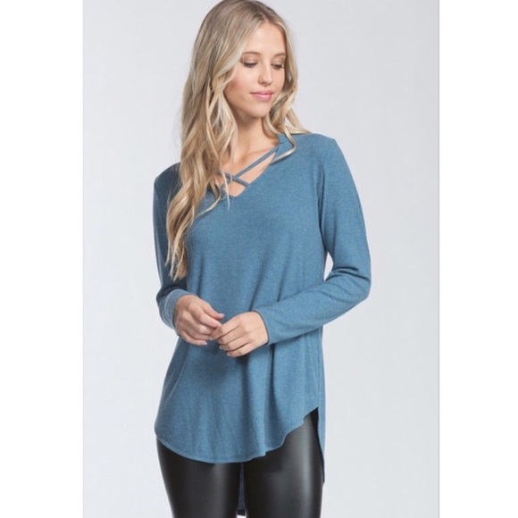 Brushed Ribbed Knit Top Blue Criss Cross Tunic a793d75da